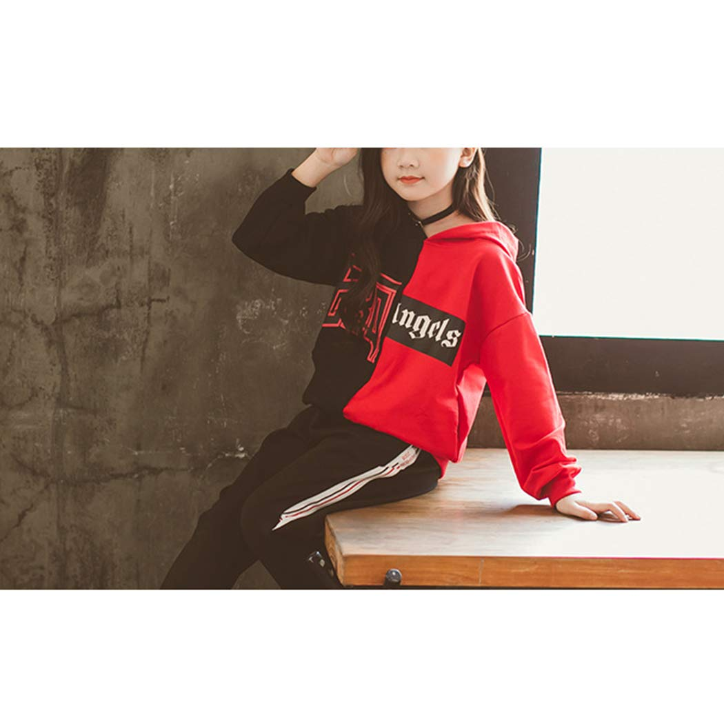 xzbailisha Teenager Girls Two-Piece Outfits Hooded Pullover /& Pant Letter Printed Tracksuit