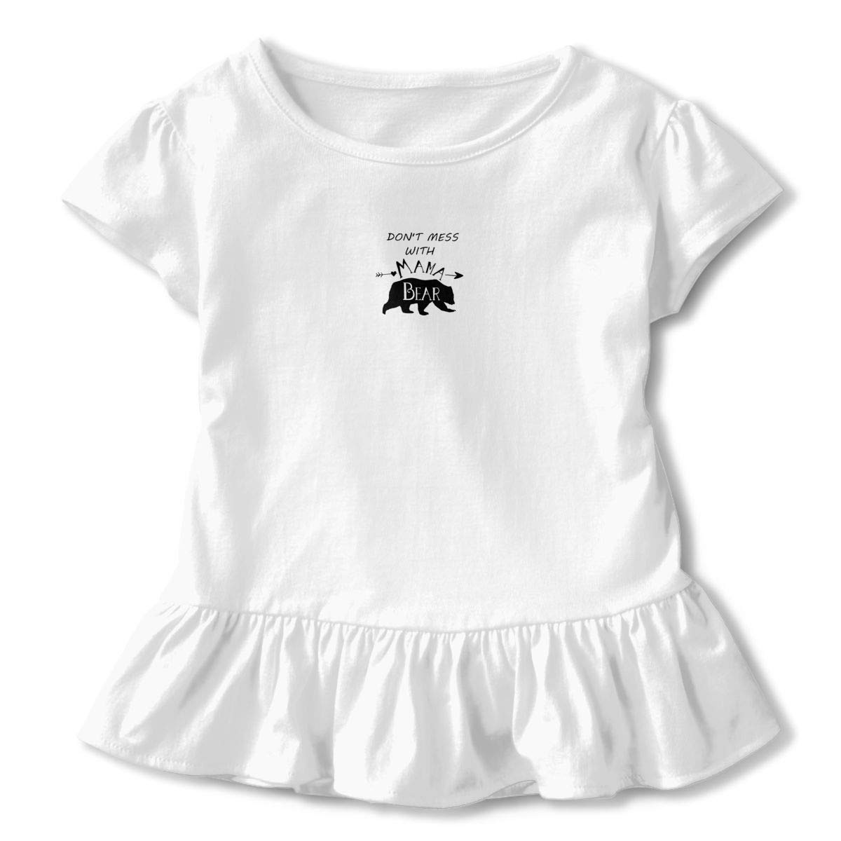 Dont Mess Mama Bear Toddler Baby Girl Basic Printed Ruffle Short Sleeve Cotton T Shirts Tops Tee Clothes White