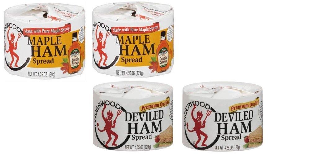 Underwood Deviled Ham Spread (2 Cans) & Underwood Maple Ham Spread (2 Can) Bundle