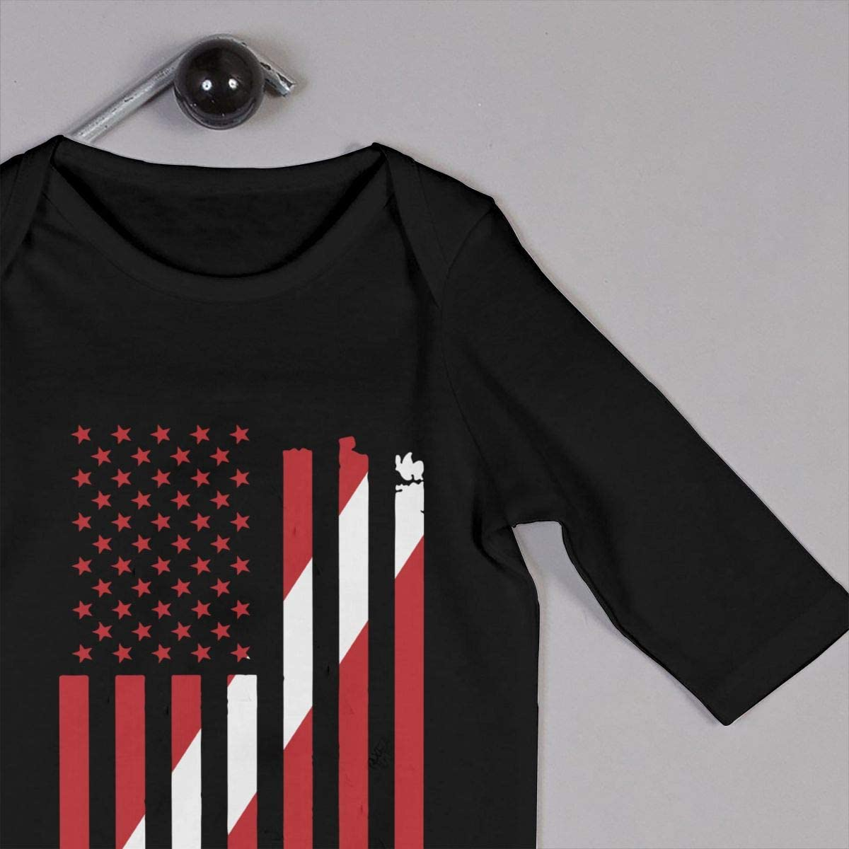 YELTY6F American Dive Flag Printed Newborn Baby Boy Girl Jumpsuit Long Sleeve Romper Black