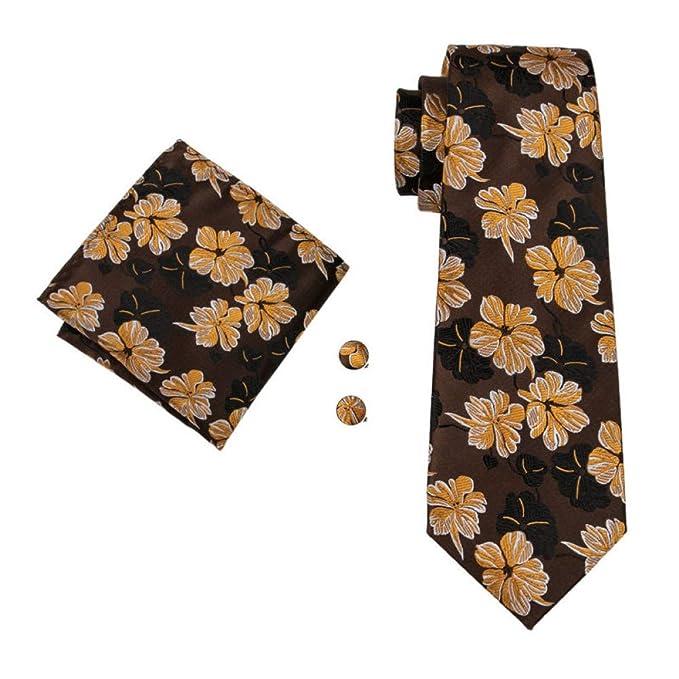 RXBGPZLD Corbata De Hombre 100% Seda Marrón Corbata Floral Pañuelo ...