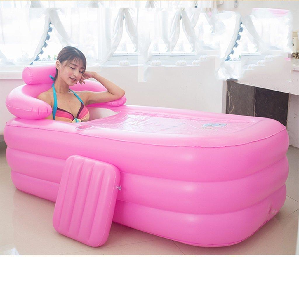 Ren Chang Jia Shi Pin Firm Freestanding Bathtubs Adult Folding Inflatable Tub Bucket Home Tub Filling Children's Bathtub Plastic Bathtub (Color : Pink)