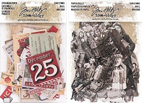 Idea-ology Tim Holtz 2017 Christmas Ephemera and Christmas Paper Dolls - 2 item bundle by Idea-ology