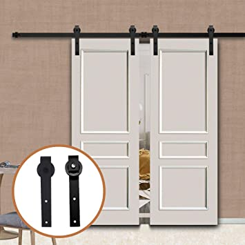 LWZH 15FT/457cm Herraje para Puerta Corredera Kit para Puertas Dobles,Negro J-Forma: Amazon.es: Bricolaje y herramientas