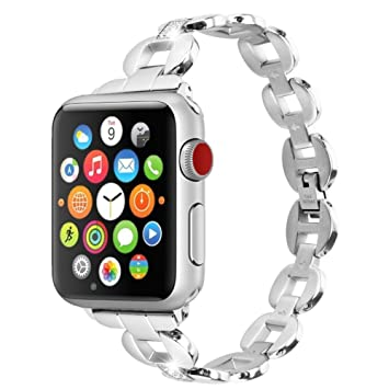 Moretek 44mm Correa para iWatch, Correa Reemplazo Pulsera de Acero Inoxidable Banda Bracelet para Apple Watch Series 4 3 2 1 (42mm,Plata)