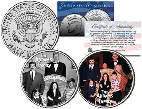 THE ADDAMS FAMILY *TV SHOW* Colorized JFK Half Dollar 2-Coin Set Morticia Gomez