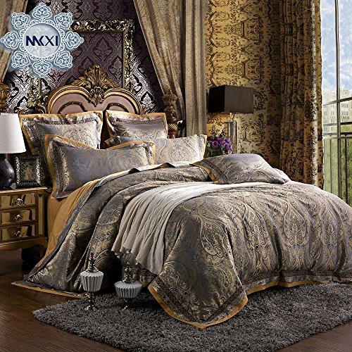 MKXI Paisley Bedding European Royalty Duvet Cover Set Sateen Textile King Set,3 Pieces (Bedroom Vintage Bedroom Set)