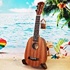 HOT SEAL 21in Cute Pineapple Shaped Handmade Carving Dapper Beginners Concerts Ukuleles Uke (21in, Classic Mahogany (without bag))