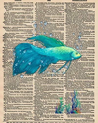 Notebook: 8x10 Inch Matte Softcover Paperback Journal With 120 Blank Lined College Ruled Pages, Upcycled Dictionary Beta Fish Cover Design (Dictionary Fish)