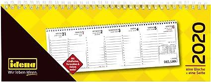 Idena 11402 - Calendario de mesa 2020, horizontal, 1 semana por ...