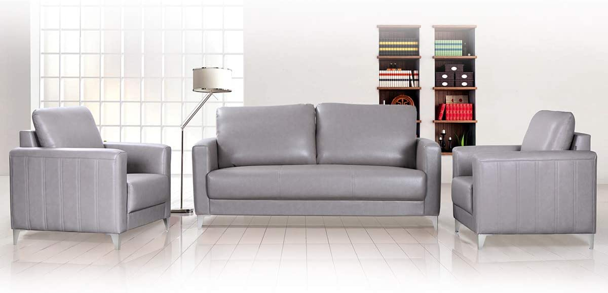 Hourseat Sofa Couch, Sectional Couch with Modern PU Leather for Small Space Gray