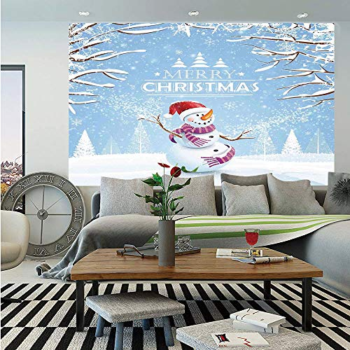 Christmas Wall Mural,Cute Snowman in a Snowy Winter Day with Xmas Hat Frosty Noel Kids Nursery Theme,Self-Adhesive Large Wallpaper for Home Decor 83x120 inches,White Blue]()