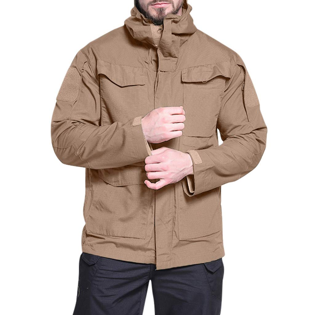 Tactical Windbreaker,ONLT TOP Men Tactical Army Breathable Hooded Coat Outdoor Windbreaker Sport Jacket by ONLYTOP_Clothing