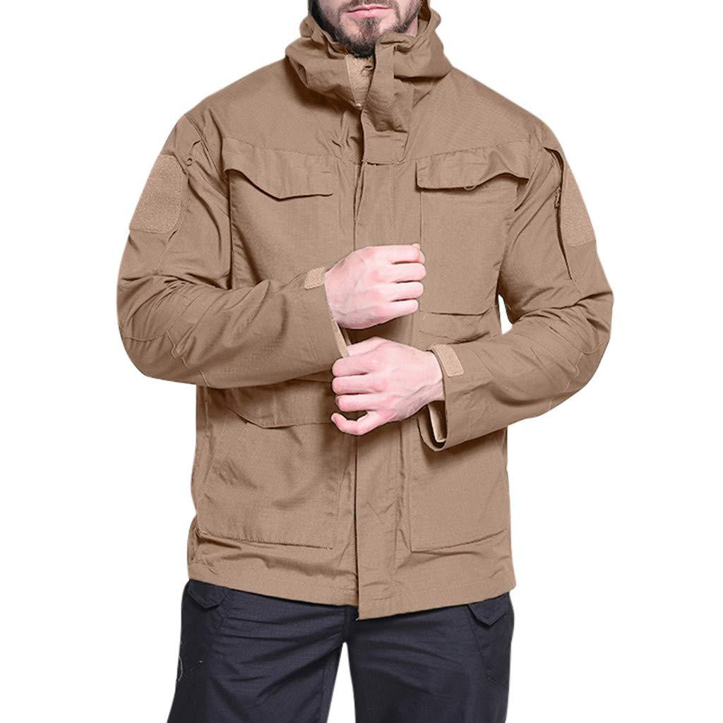IEasⓄn Men Coat New Coming Windproof Warm Outdoor Sports Hooded Jacket Coat Online Store Khaki