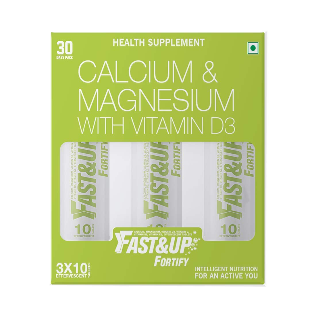 Fast&Up Fortify - Calcium with Essential Vitamin D3 for Complete Health Support - Vitamin D3, Calcium & Magnesium Combination for Better Absorption (30 Effervescent Tablets, Lime & Lemon Flavour)