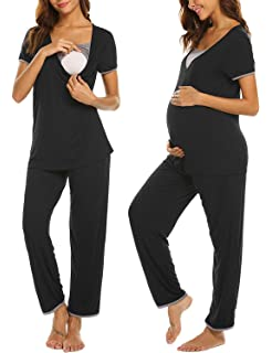 Amazon.com: Ekouaer - Pijama capri de maternidad y lactancia ...