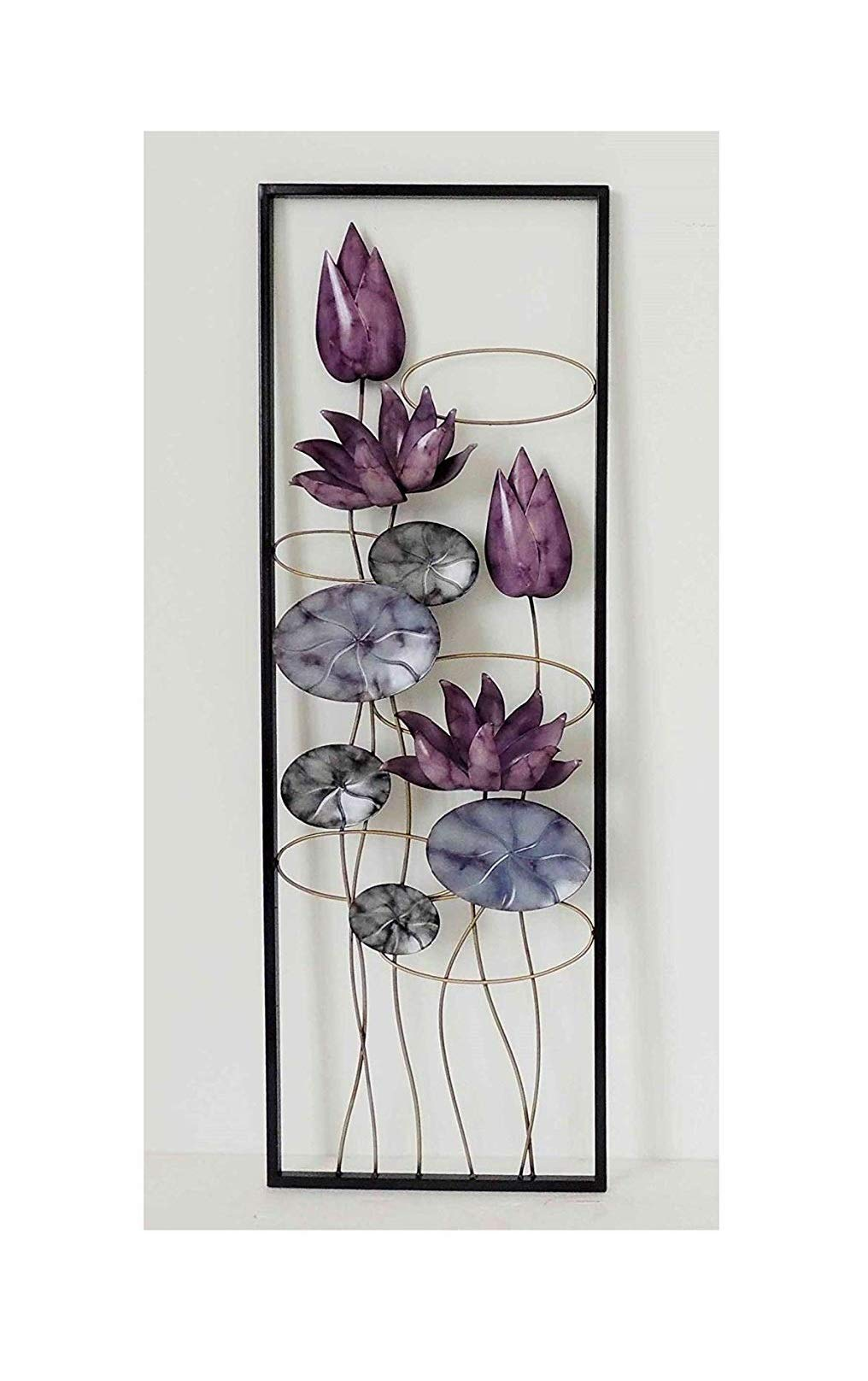 New All American Collection Flower and Leaves Aluminum/Metal Wall Decor with Frame 12''x36'' (Purple Flowers)
