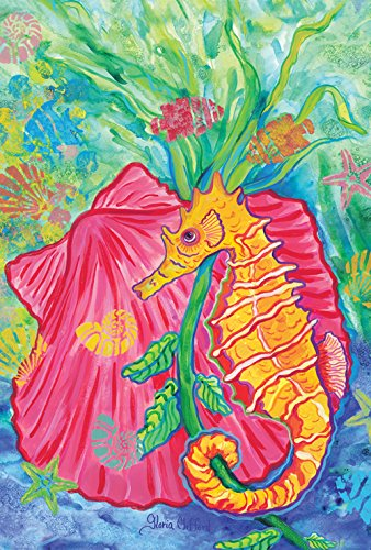 Toland Home Garden Undersea Seashell and Seahorse 28 x 40 Inch Decorative Colorful Tropical Ocean House - House Nautilus Shell