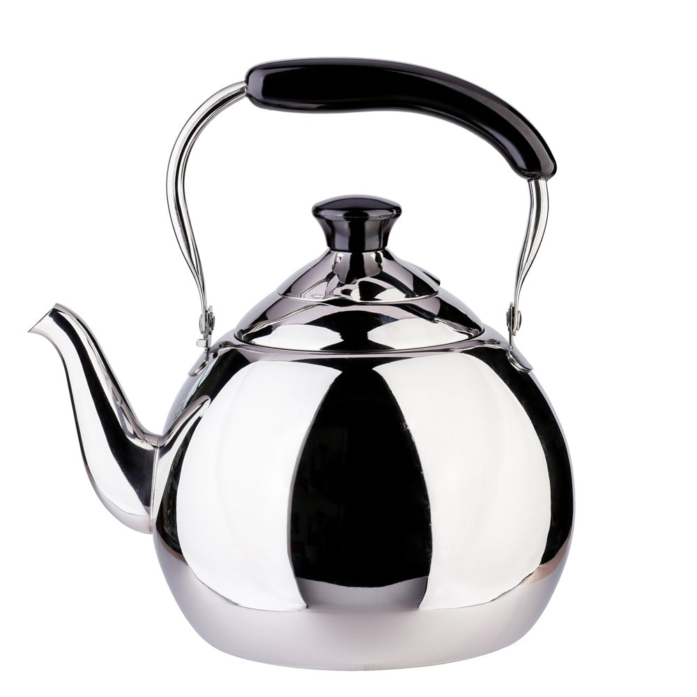 Stainless Steel Tea Kettle Whistle for Stovetop, Mirror Finish Surface, Bakelite Handle Fast Boiling FLH 2 Quart Teakettle Whistling Tea Pot