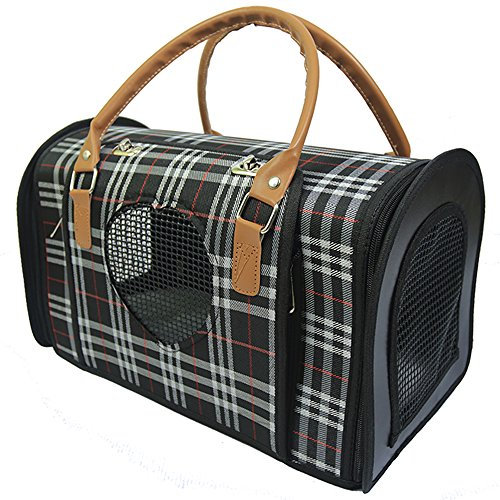 Radiant Pet Supplies Stylish Small Dog and Cat Portable Travel Carrier Hand Bag, Under the Seat Compatibility, Plaid Print (Carrier Plaid Pet)