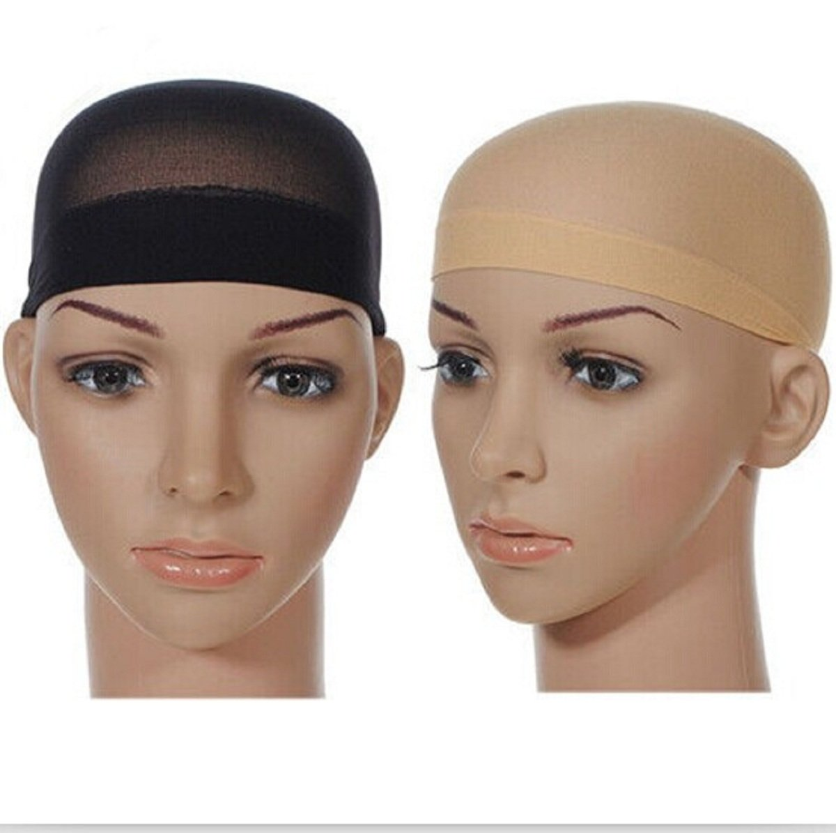 2 Pack LiPing Long Wig Caps, Black Mesh Net Wig Cap, Open End Wig Cap for Long and Short Hair,Elastic Hair Mesh Net Open End