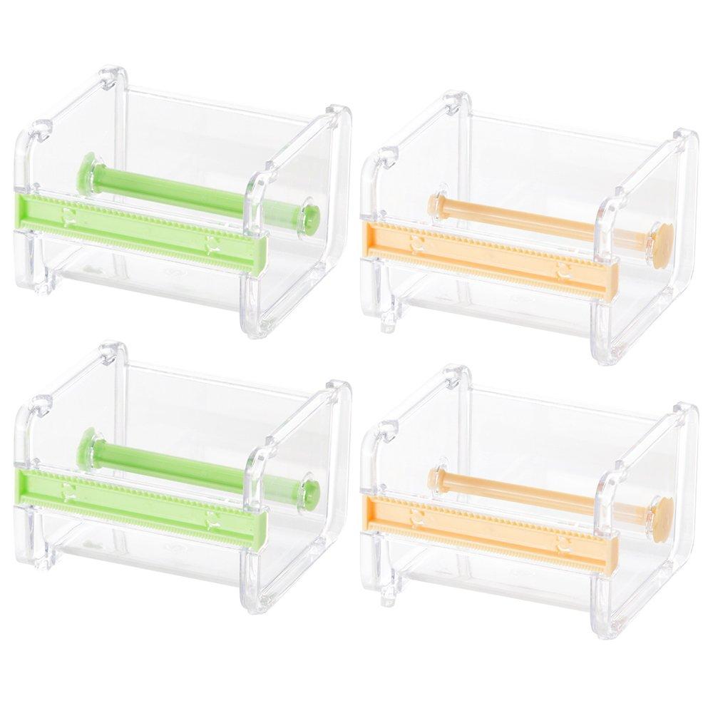 MyLifeUNIT Washi Tape Dispenser, Office Acrylic Tape Holder Dispenser for Desk, 4 Pack