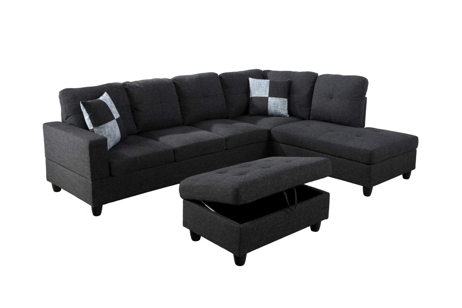 Amazon.com: Lifestyle Furniture Left Facing 3PC Sectional ...