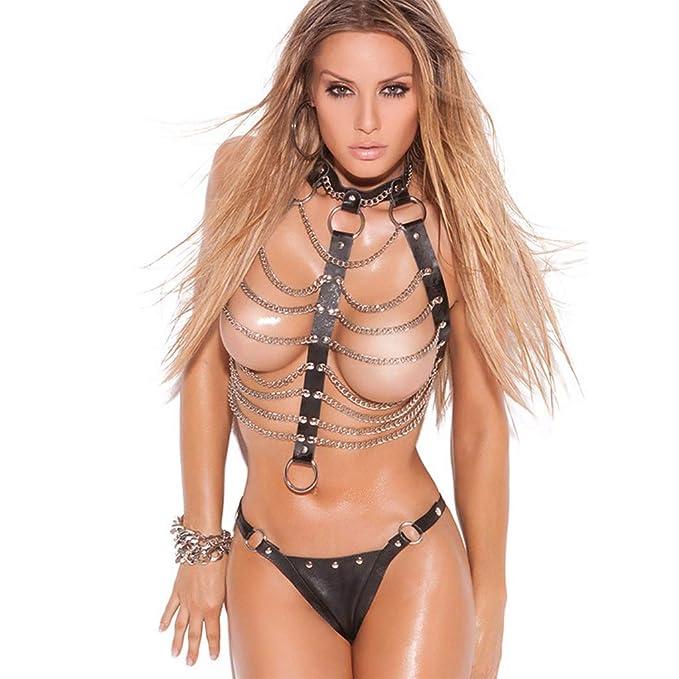 XL Ropa Interior Sexy Ropa Interior erótica para Mujer Conjunto de Sujetador y Panty de Cadena
