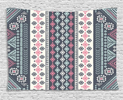 Bedroom Furniture Mexican (Ambesonne Tribal Decor Tapestry by, Tribal Mexican Vintage Ethnic Pattern Handmade Design Illustration Print, Wall Hanging for Bedroom Living Room Dorm, 80WX60L Inches, Pink and Grey)