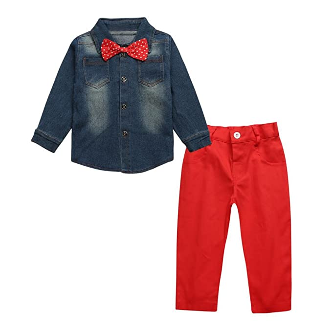 2PCS Bebé guapo manga larga Abrigo Chaqueta camiseta +Rojo vaqueros Jeans pantalones ropa Conjunto,