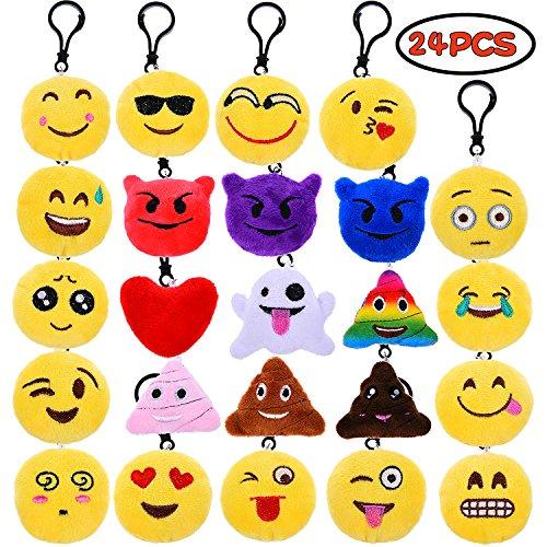 Emoji Plush Pillows Keychain Pendants Set, Including Poop, Cry, Smile, Laugh Faces for Party Favors, Decoration, Birthday, Christmas 24 PCs