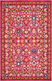 Unique Loom Medici Collection Floral Traditional Vibrant Colors Pink Area Rug (5′ x 8′)