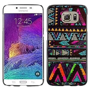 TopCaseStore / la caja del caucho duro de la cubierta de protección de la piel - American Pattern Black - Samsung Galaxy S6 SM-G920