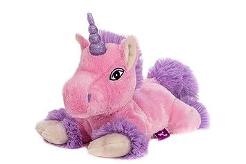 Habibi Premium – Unicornio Rosa – Lila purpurina Cuerno, cojín de calor extraíble
