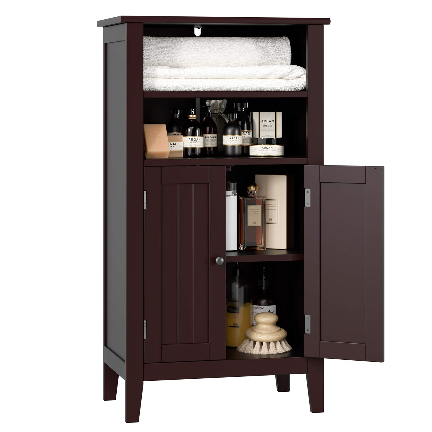 HOMFA Bathroom Floor Cabinet Wooden Storage Organizer with Double Doors Adjustable Shelf Free Standing Kitchen Cupboard for Home Office, 19.6L x 11.8W x 36.2H Dark Brown by Homfa