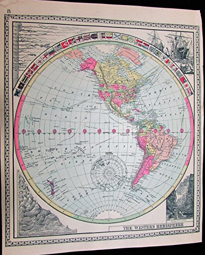 world-spheres-americas-c1888-hand-color-old-map-flags-compare-mts-rivers