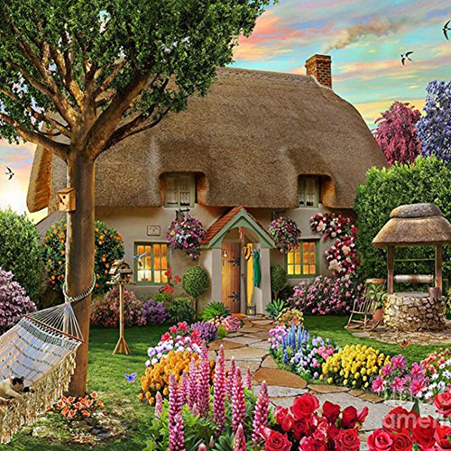 Mosaic Birdhouses - Garden Cottage - Garden Cottage 5d Diamond Painting Diy Craft Kit Home Decor Embroidery Mosaic Cross Stitch Wall - Decor Kit Sign Plate Board Game Birdhouse
