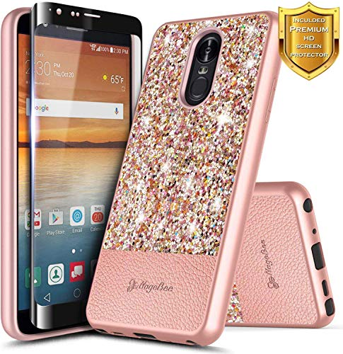 [해외]LG Aristo 4 Plus Case Escape PlusPrime 2Arena 2Tribute RoyalJourney LTEK30 2019Tempered Glass Screen Protector NageBee Glitter Crystal Sparkle Ultra Slim Soft Leather Cute Case -Rose Gold / LG Aristo 4 Plus Case, Escape PlusPrime 2...