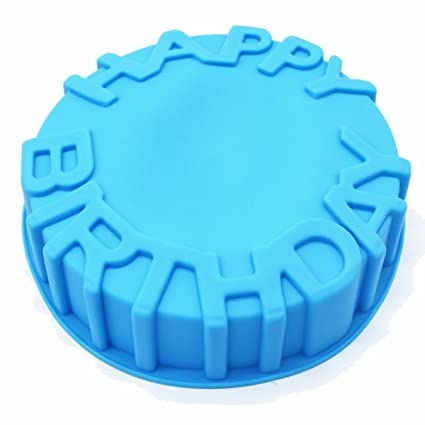 Amazon X Haibei 7inch Happy Birthday Cake Mold Pan Chocolate Pizza Baking Tray Silicone Mould Kitchen Dining