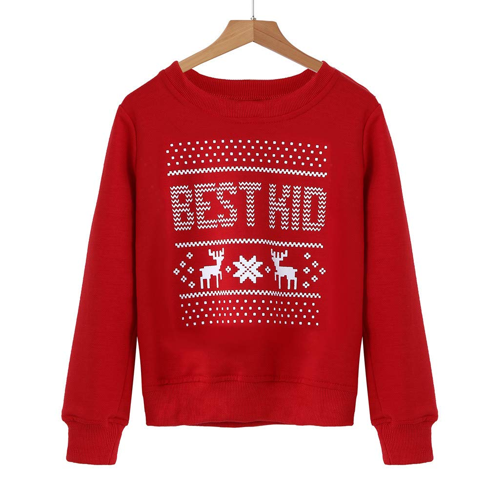 Mommy&Me Christmas Matching Shirt Baby Long Sleeves Letter Print Family Tops Blouse