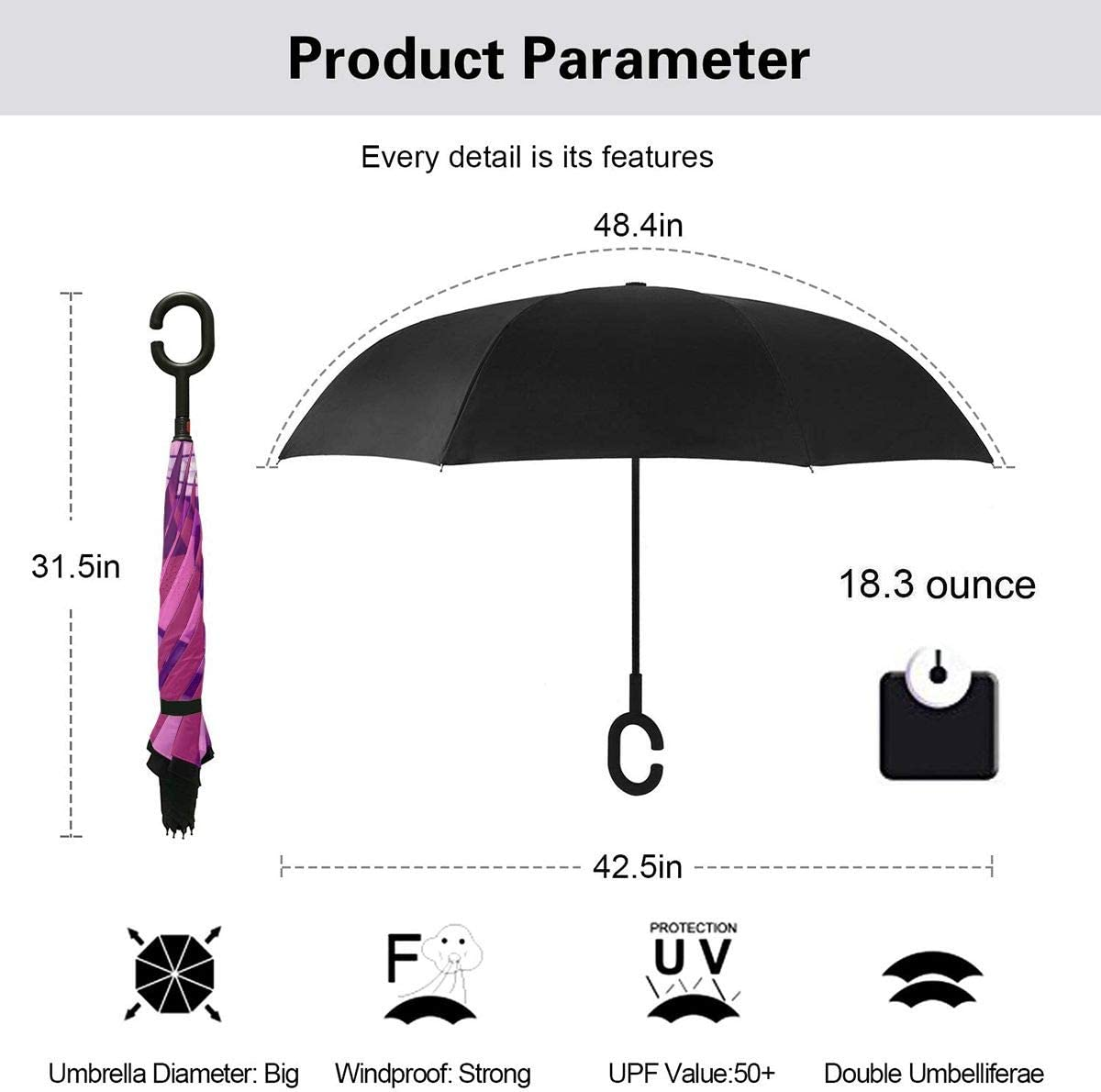 Cute Winter Animals Set Large Inverted Double Layer Reverse Folding Umbrella C-Shape Hands-Free Handle for Car Rain Sun