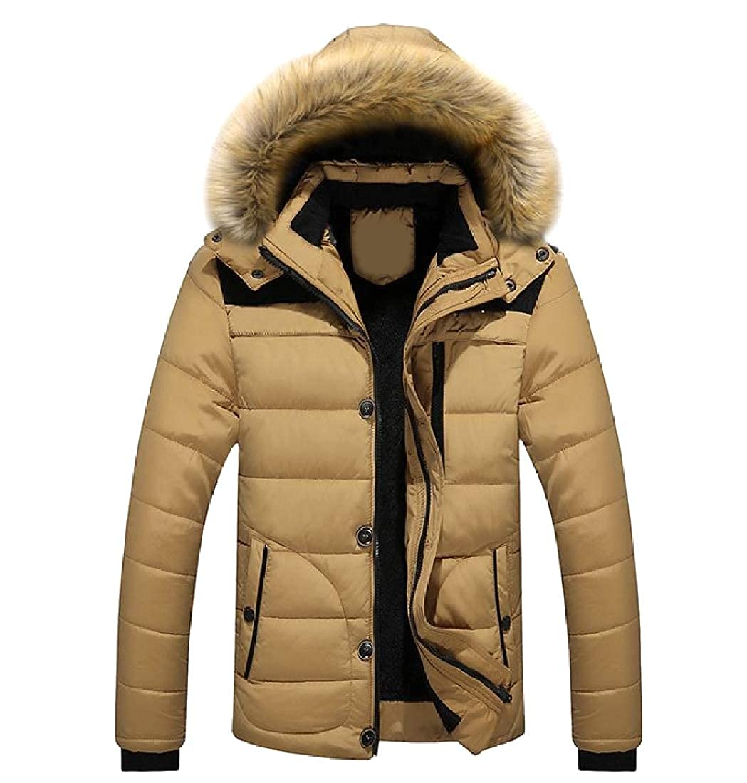 YUNY Men Winter Hood Windproof Regular-Fit Fur Collar Warm Coat Jacket Khaki L