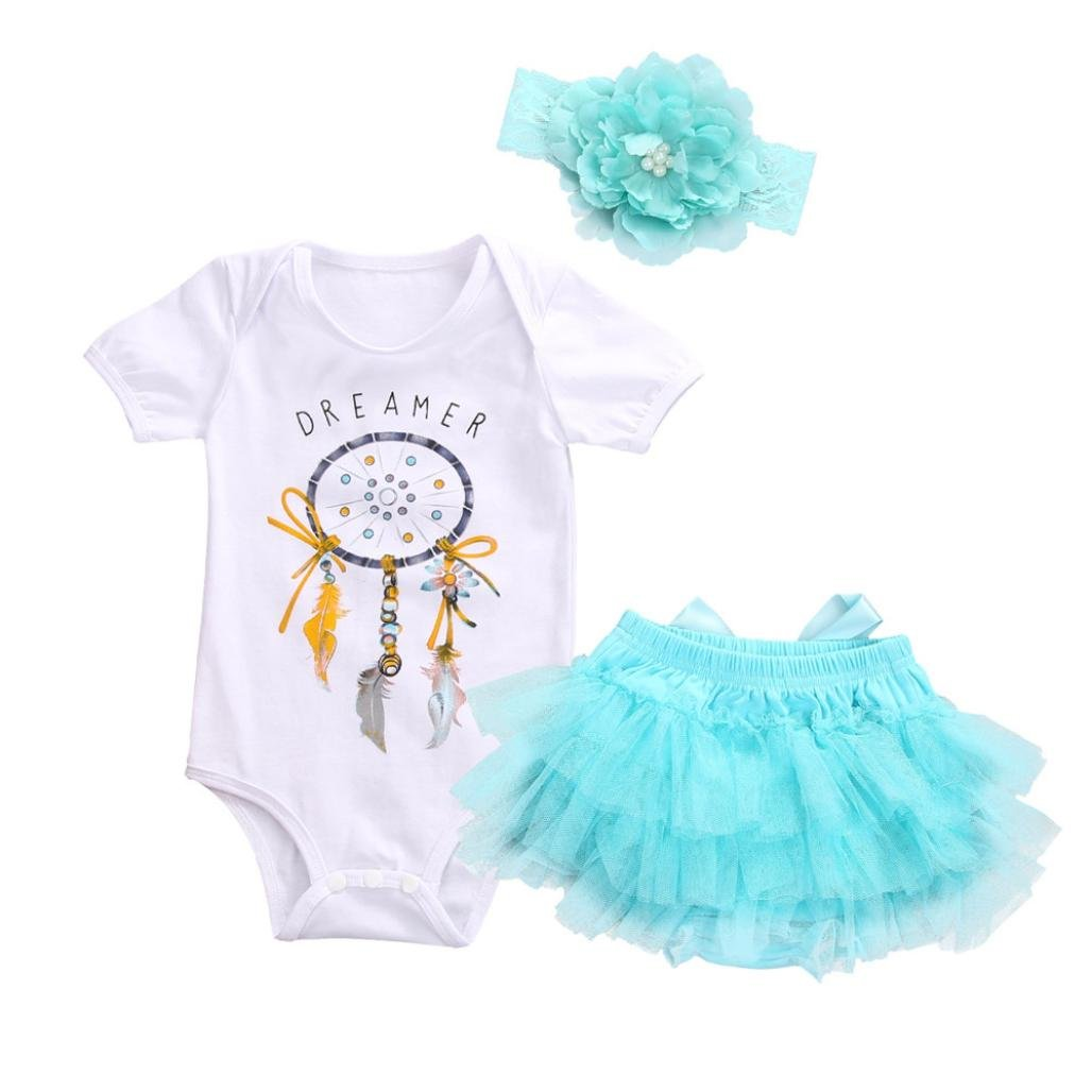 Hevoiok Baby Girls Romper Casual Fashion Cartoon Dream Letters Print O Neck Short Sleeveless Jumpsuits + Headband + Tutu Skirt 3Pcs Outfits