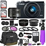 Canon EOS M100 Mirrorless Digital Camera (Black) Premium Accessory Bundle with Canon EF-M 15-45mm IS STM Lens (Graphite) + Canon Water Resistant Case + 64GB Memory + HD Filters + Auxiliary Lenses