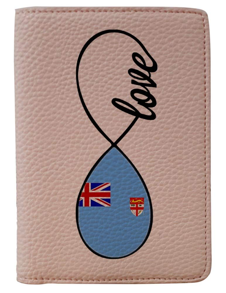[OxyCase] Designer Light Weight PU Leather Passport Holder Cover/Case - Infinity Love Fiji Flag Design Printed Cute Travel Wallet for Girls/Women
