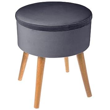 Depotmania Grand Tabouret Pouf Coffre De Rangement Rond Style Scandinave Coloris Gris Fonce Aspect Velours
