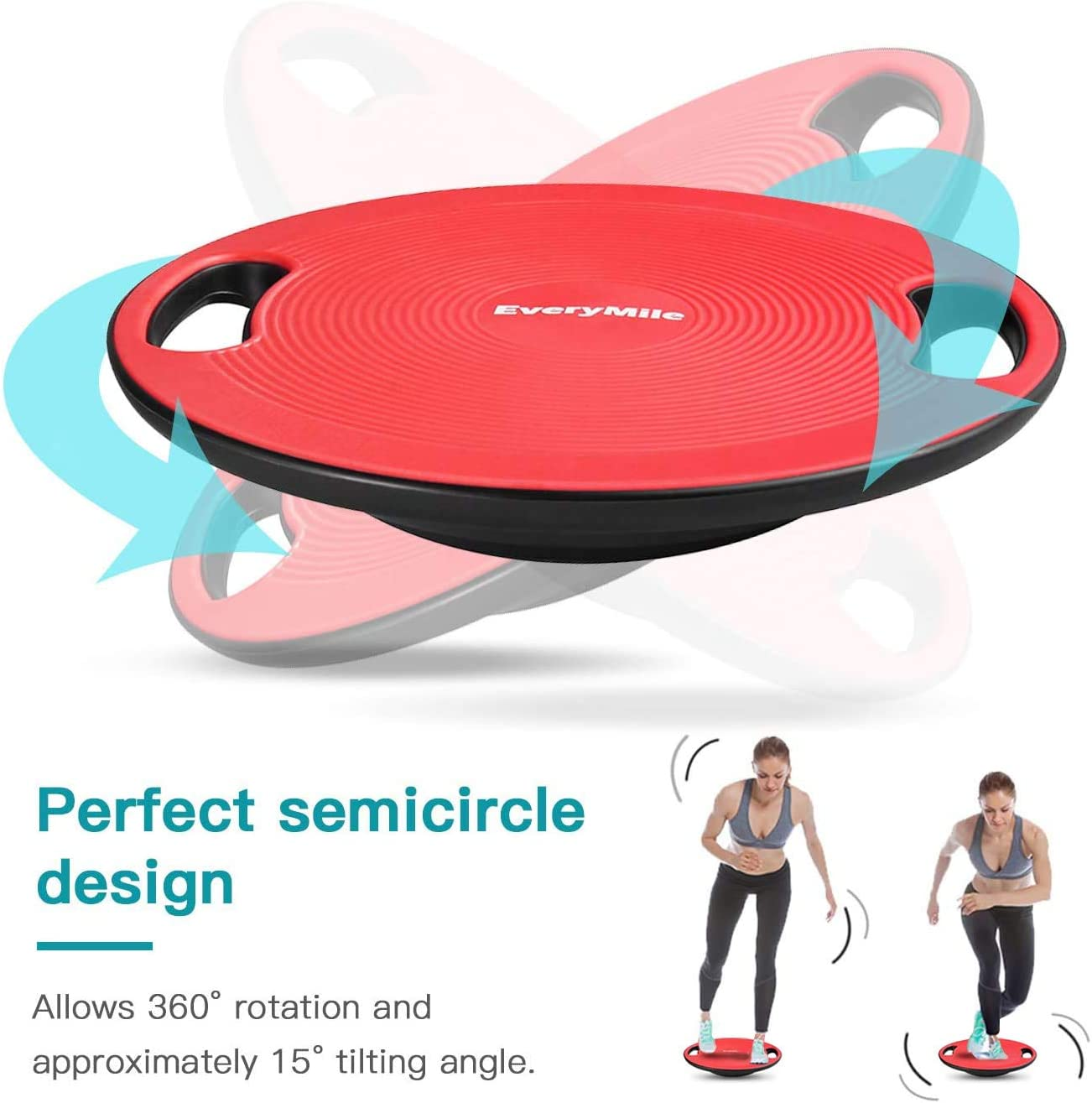 EveryMile Wobble Balance Board Exercise Balance Stability Trainer with Handles