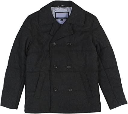 Tommy Hilfiger Men's Wool Blend Double Breasted Quilted Peacoat ... : quilted pea coat - Adamdwight.com