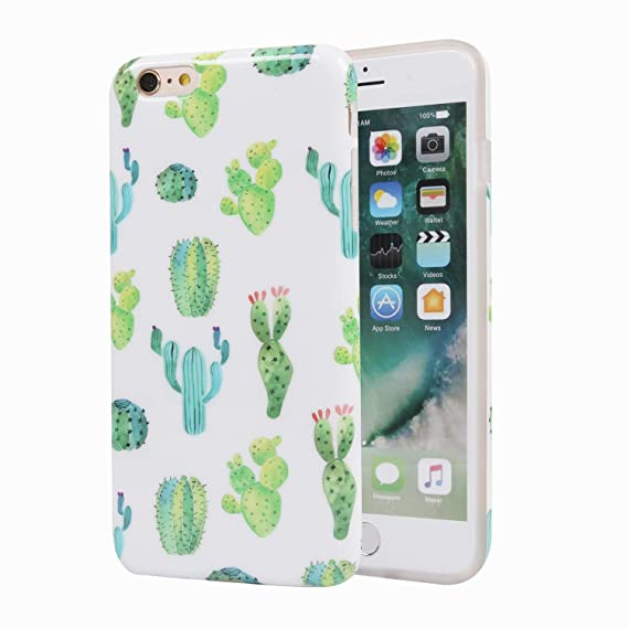 finest selection 0ff62 99e4b Cactus iPhone 6 Plus Case for Girls, Cute Slim Fit Soft Glossy TPU  Protective Cover Phone Case for Apple iPhone 6 Plus/iPhone 6s Plus