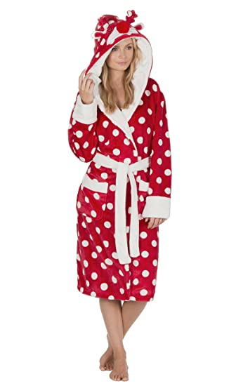 Ladies Soft Fleece Spotty Dressing Gown with Novelty Animal Hood (Small, Red)